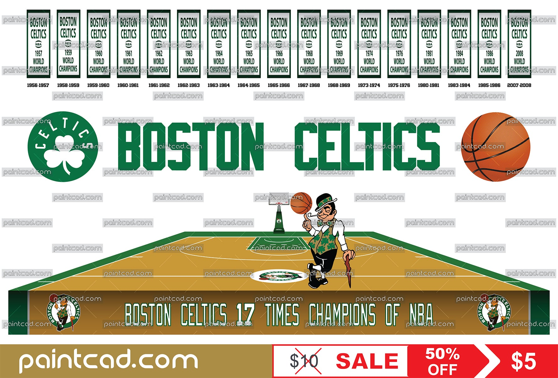 cheaper 07187 ef929 Boston Celtics championship banners, team logo and home court