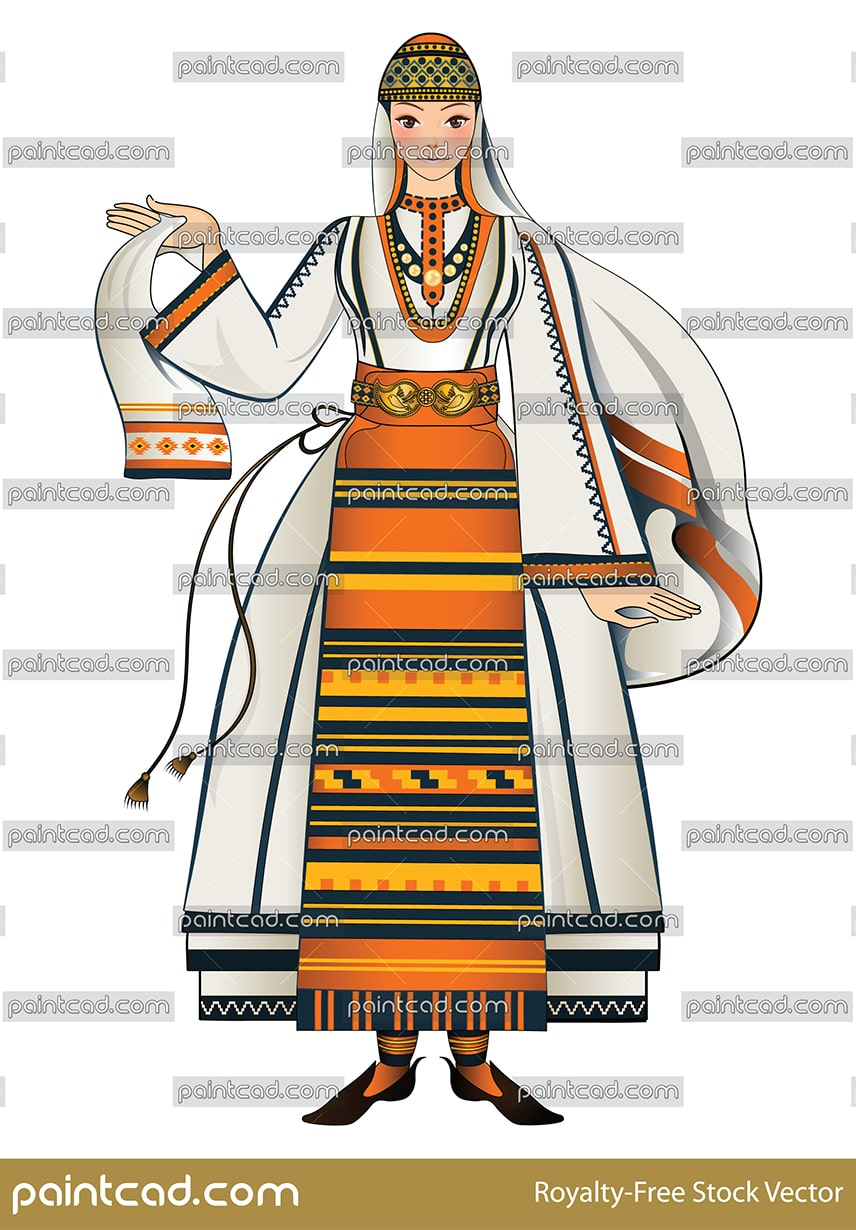 Bulgarian beautiful girl dressed in traditional summer folk costume from LittleTarnovo.  Vector illustration with folklore motifs.
