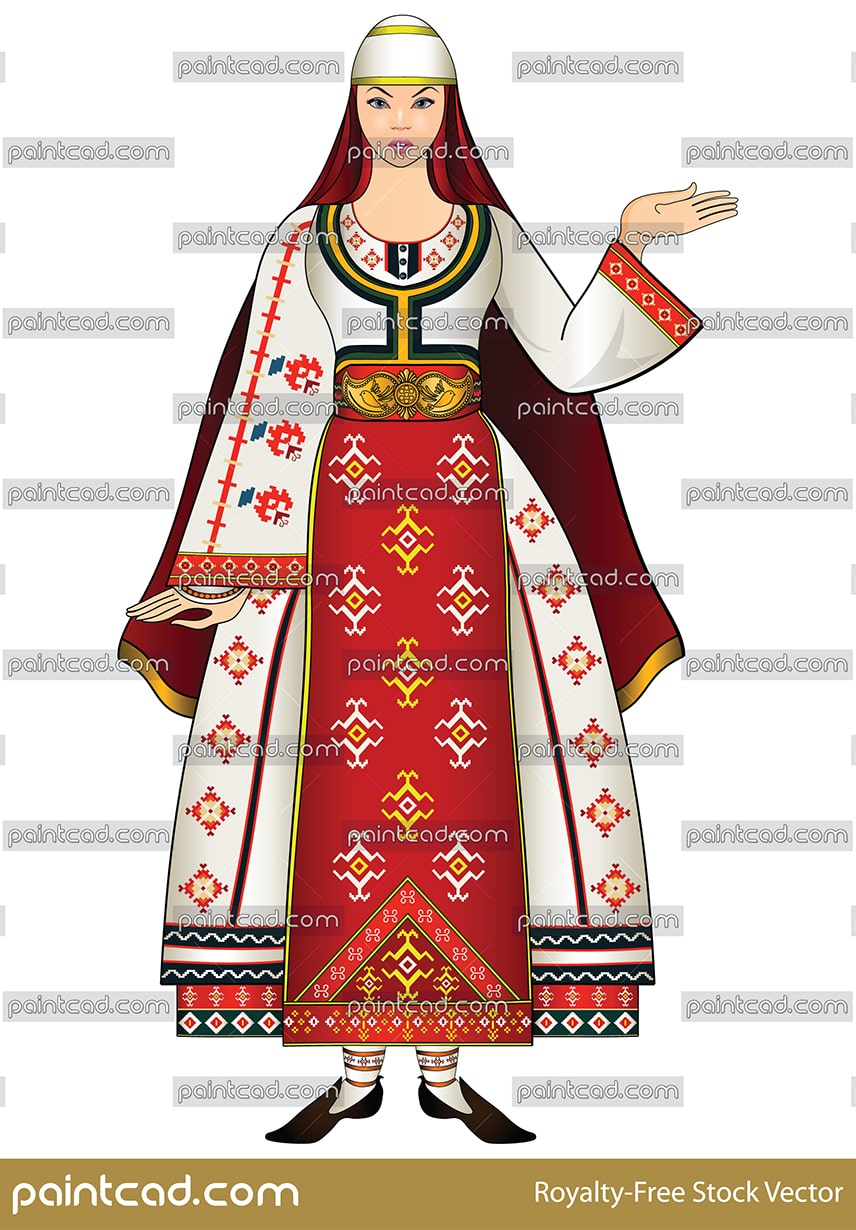 Young woman in traditional folk costume from Southwest Bulgaria. The region is known as Pirin Macedonia. Ethno motifs and classical Bulgarian embroidery. Isolated object over white background.