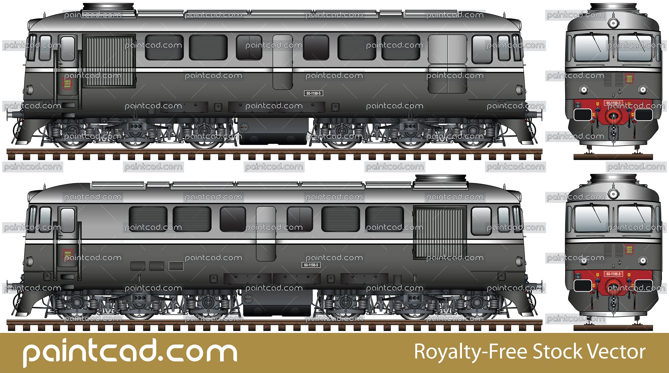 Romanian diesel locomotive class 60 painted in gray livery - vector illustration