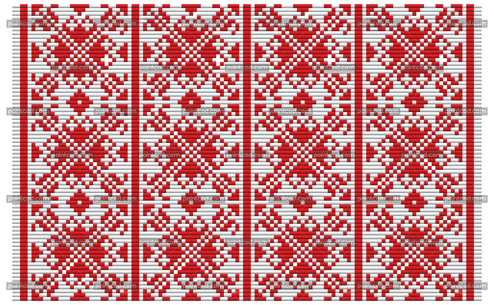 Bulgarian ethnic geometric mosaic pattern in red and white - vector illustration