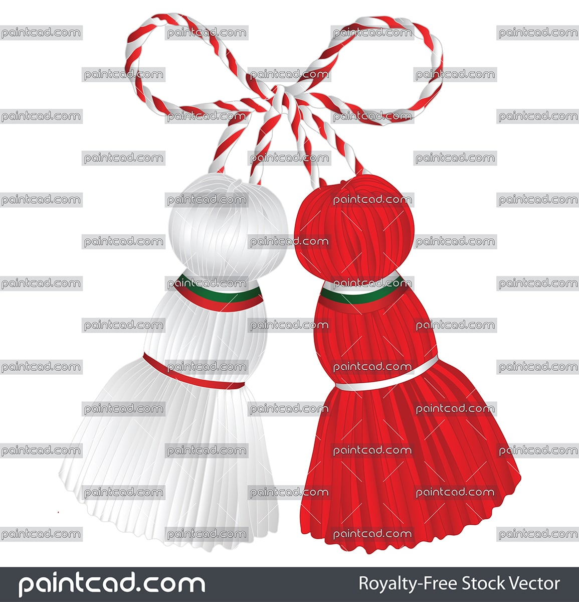 Martenitsa Pizho and Penda decorated with Bulgarian flag - vector illustration