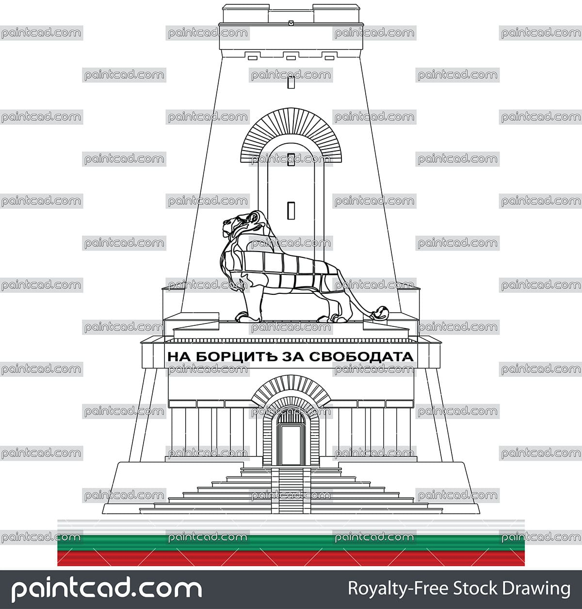 Drawing of entrance facade of the Monument of Liberty Shipka - vector illustration